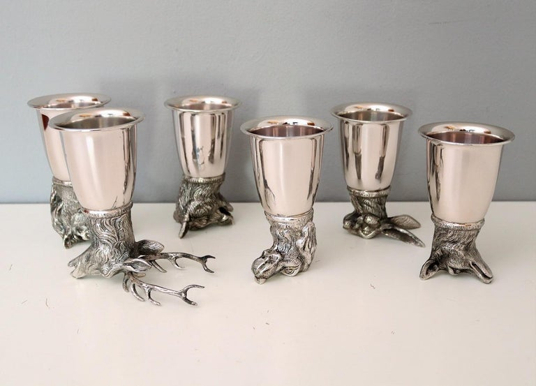 Italian Gucci Silver Plated Drinking Cups in Different Animal Shapes Signed For Sale 12