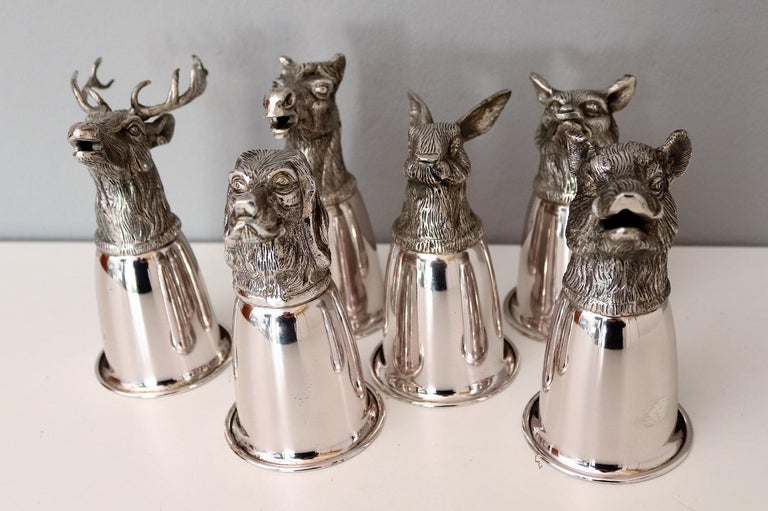 Italian Gucci Silver Plated Drinking Cups in Different Animal Shapes Signed For Sale 13