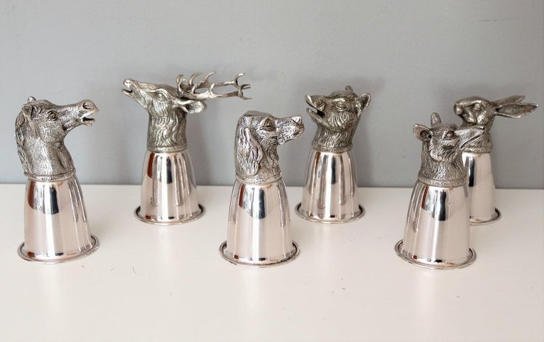 Mid-Century Modern Italian Gucci Silver Plated Drinking Cups in Different Animal Shapes Signed For Sale
