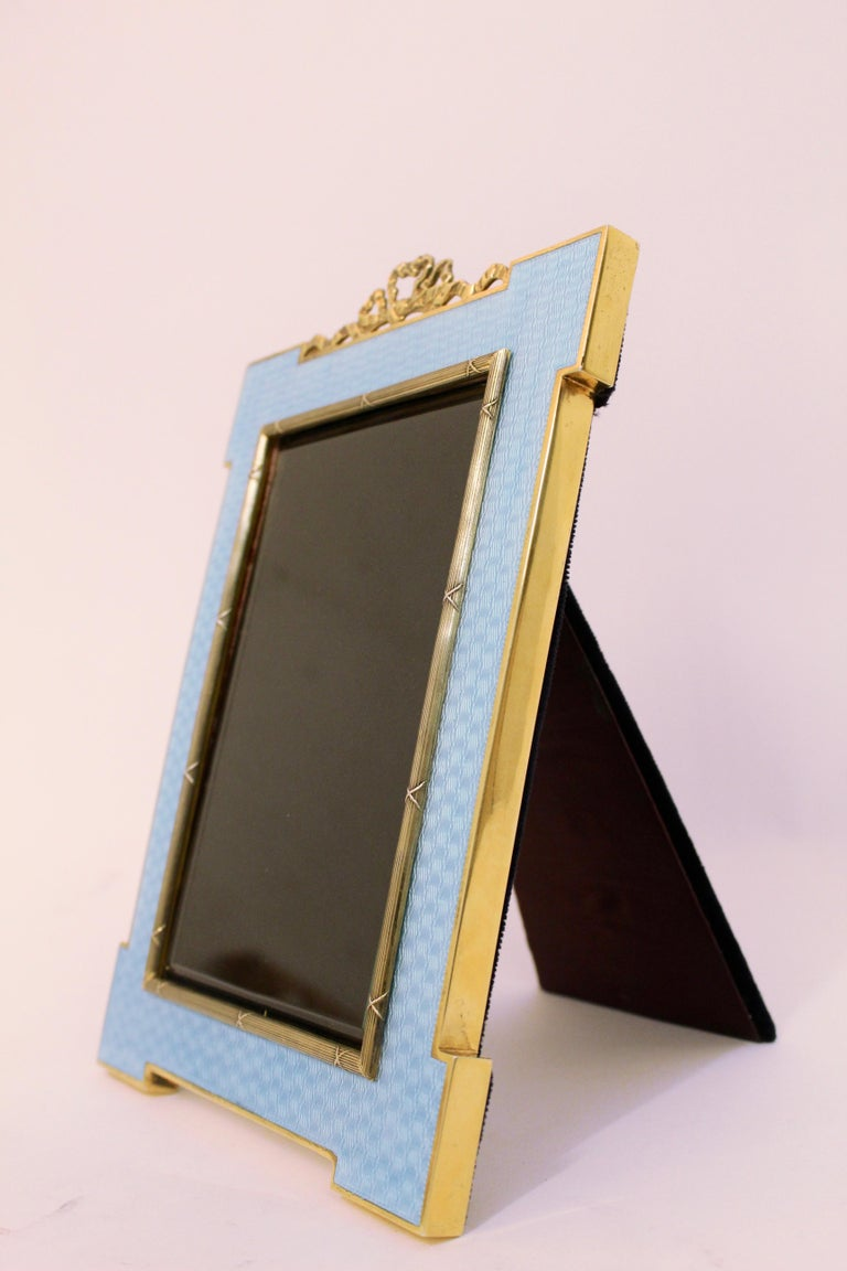Late 20th Century Italian Guilloche Enamel Photo Frame with Gold-Plated Silver Mounts, circa 1970 For Sale