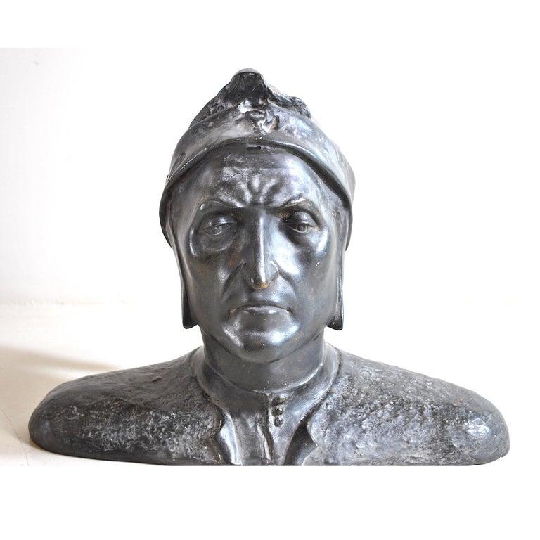 Academic half bust depicting Dante Alighieri, 1950s production in enameled plaster.