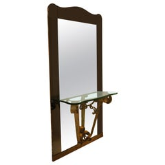 Italian Hall Mirror with Console Shelf and Blue Gray Frame, circa 1940
