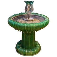 Italian Hand Blown Green Murano Glass Fountain