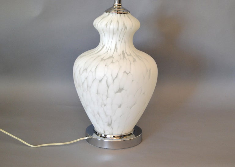 Other Italian Hand Blown Murano Glass and Chrome Table Lamp For Sale