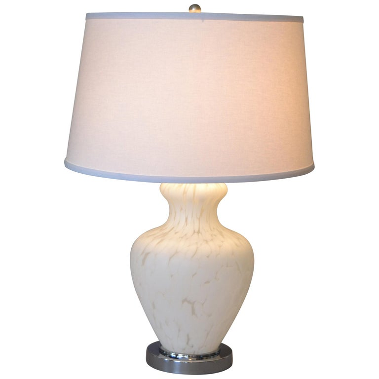 Italian Hand Blown Murano Glass and Chrome Table Lamp For Sale