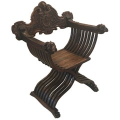 Italian Hand Carved 19th Century Walnut Savonarola Chair