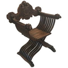 Italian Hand Carved 19th Century Walnut Savonarola Chair