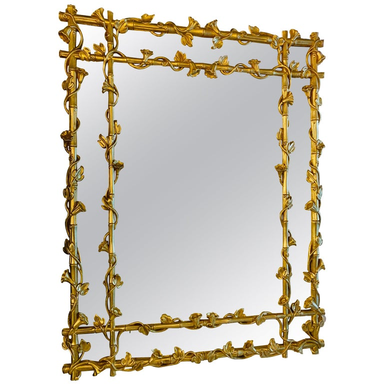 Italian Hand Carved and Gilded with  antique glass mirror For Sale