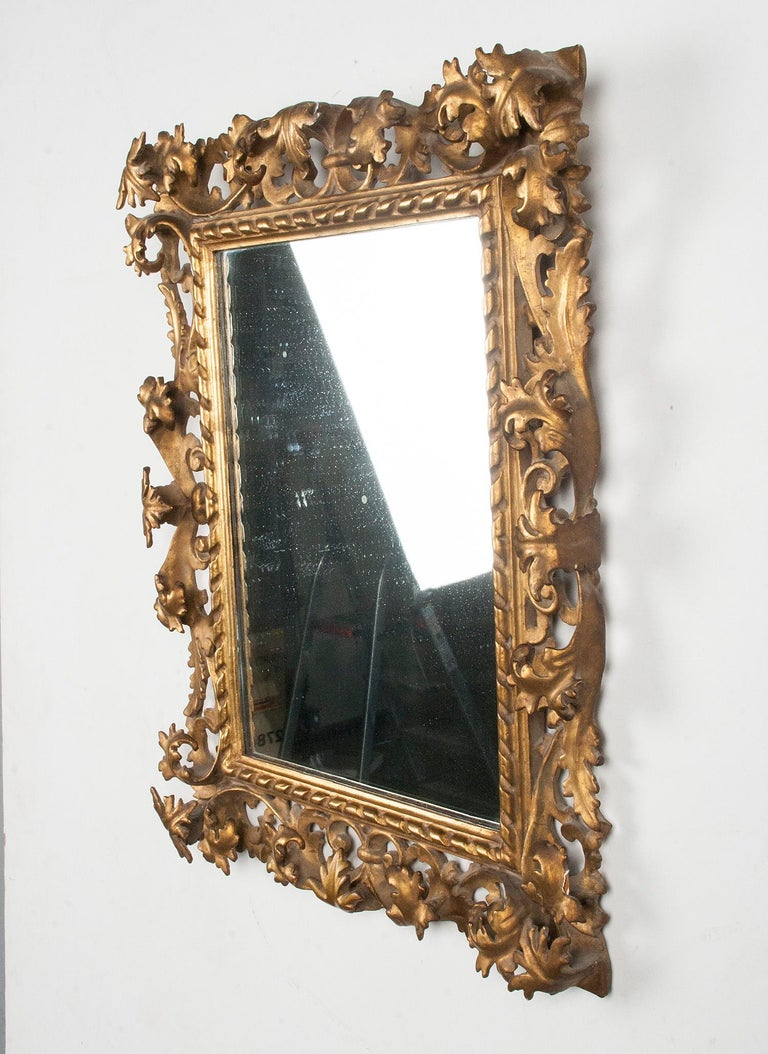 Italian Hand Carved and Gold Leaf Gilded Baroque Style Mirror, 1890-1900 For Sale 4