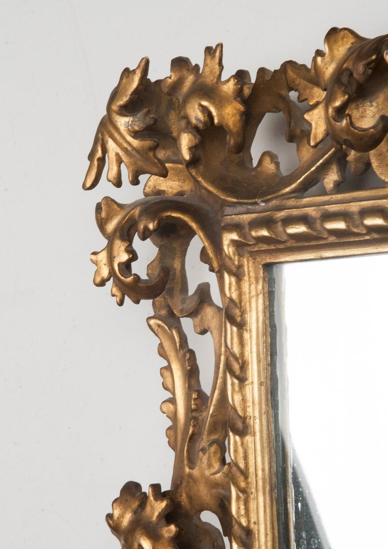 Italian Hand Carved and Gold Leaf Gilded Baroque Style Mirror, 1890-1900 For Sale 5