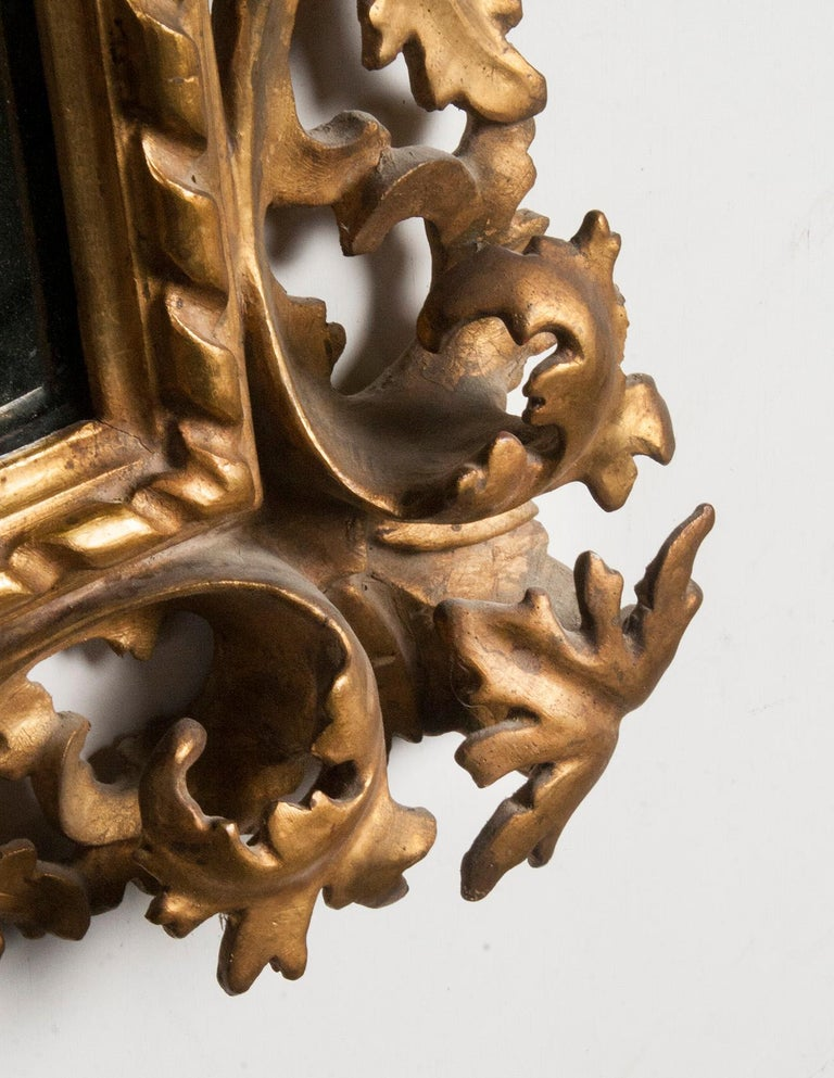 Italian Hand Carved and Gold Leaf Gilded Baroque Style Mirror, 1890-1900 For Sale 6