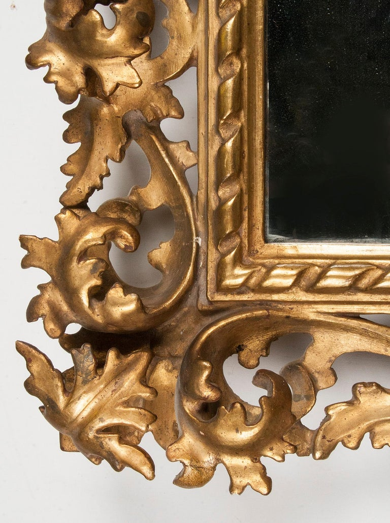 Italian Hand Carved and Gold Leaf Gilded Baroque Style Mirror, 1890-1900 For Sale 7