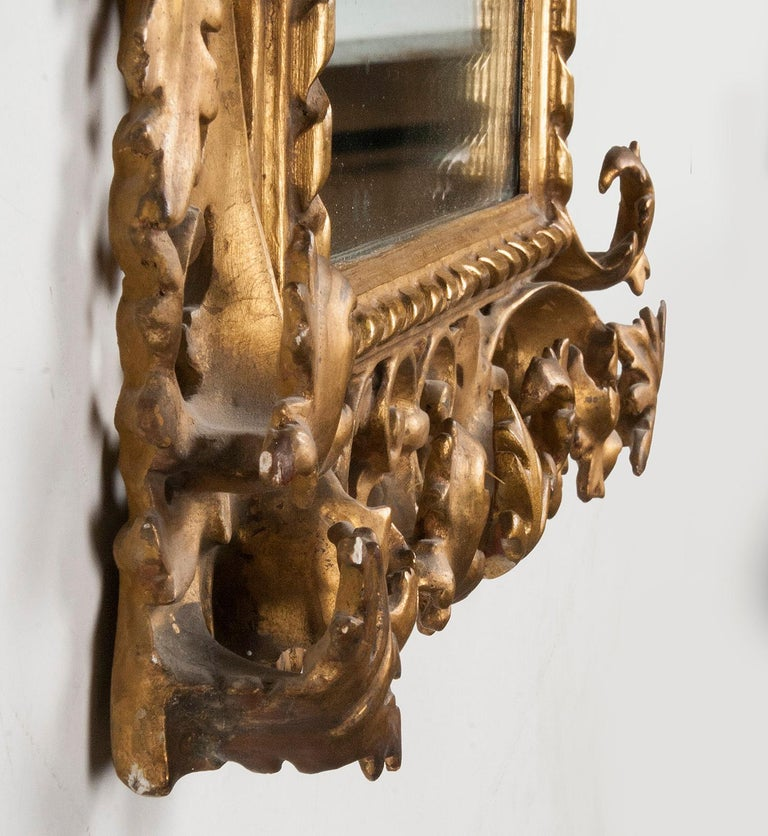 Italian Hand Carved and Gold Leaf Gilded Baroque Style Mirror, 1890-1900 For Sale 9