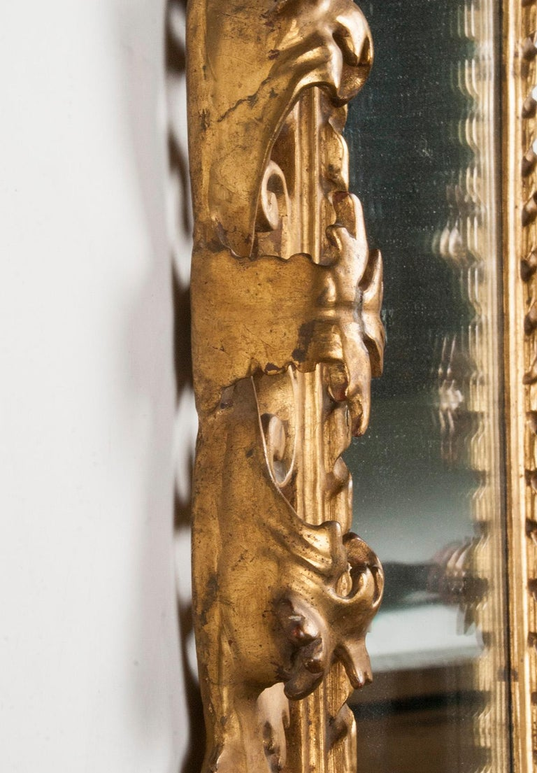Italian Hand Carved and Gold Leaf Gilded Baroque Style Mirror, 1890-1900 For Sale 10