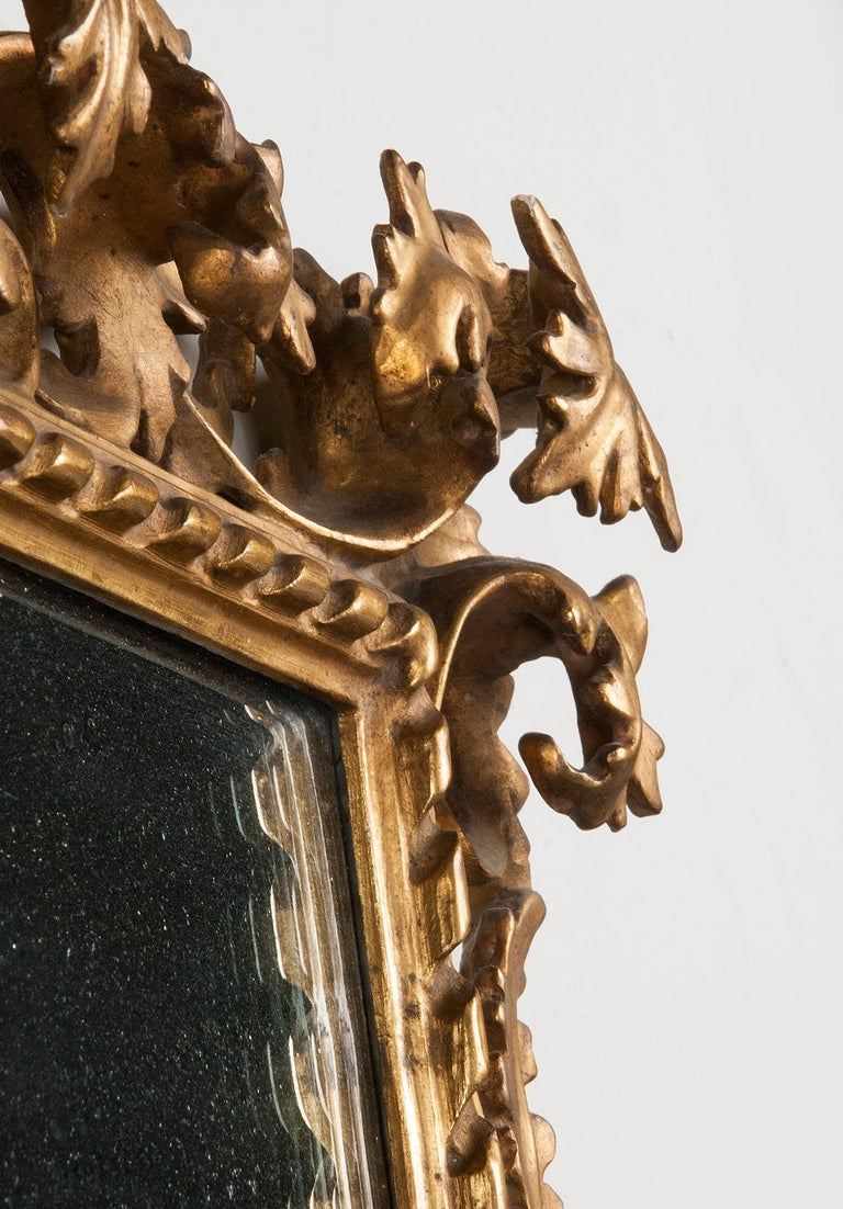 Italian Hand Carved and Gold Leaf Gilded Baroque Style Mirror, 1890-1900 For Sale 11