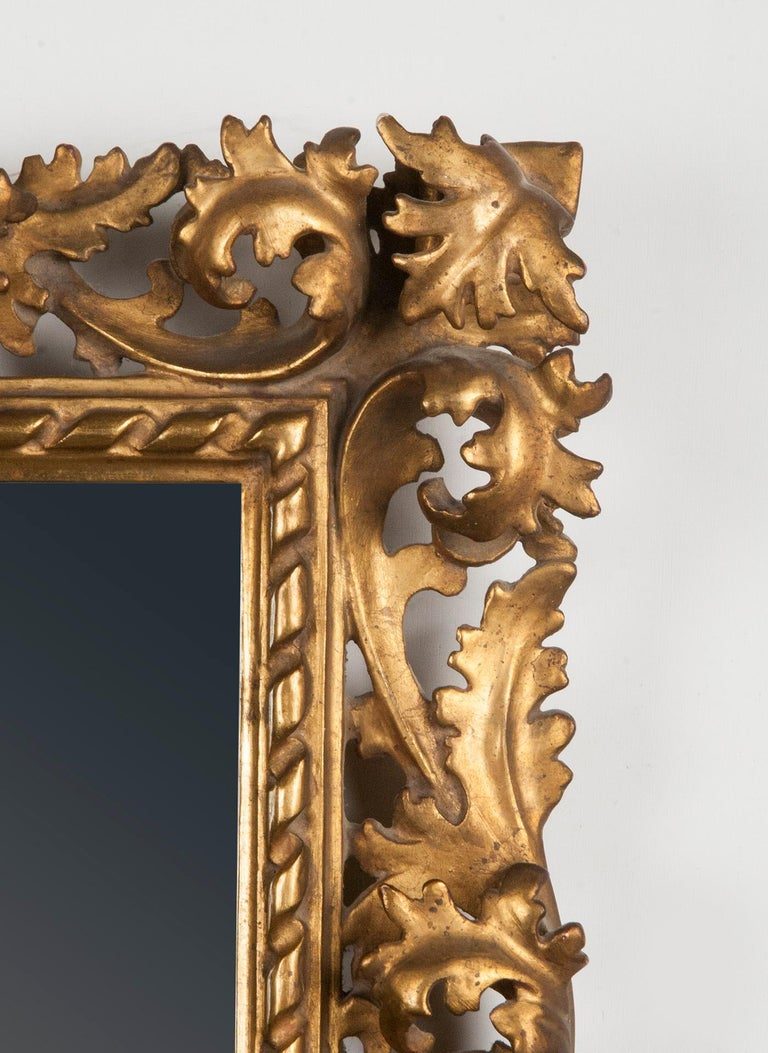 Hand-Carved Italian Hand Carved and Gold Leaf Gilded Baroque Style Mirror, 1890-1900 For Sale