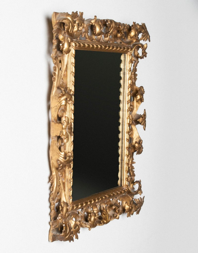 Italian Hand Carved and Gold Leaf Gilded Baroque Style Mirror, 1890-1900 In Good Condition For Sale In Casteren, Noord-Brabant