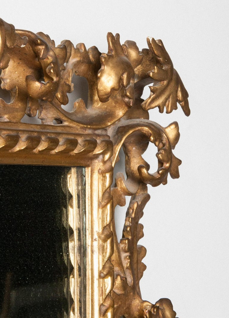19th Century Italian Hand Carved and Gold Leaf Gilded Baroque Style Mirror, 1890-1900 For Sale