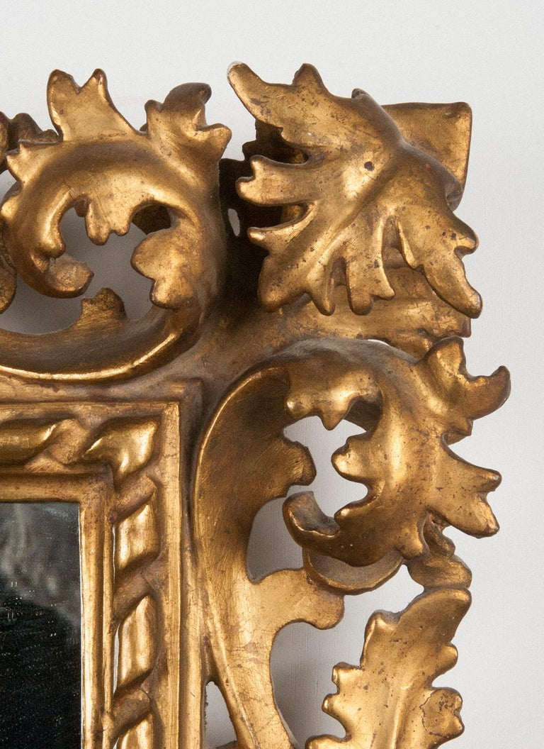 Poplar Italian Hand Carved and Gold Leaf Gilded Baroque Style Mirror, 1890-1900 For Sale