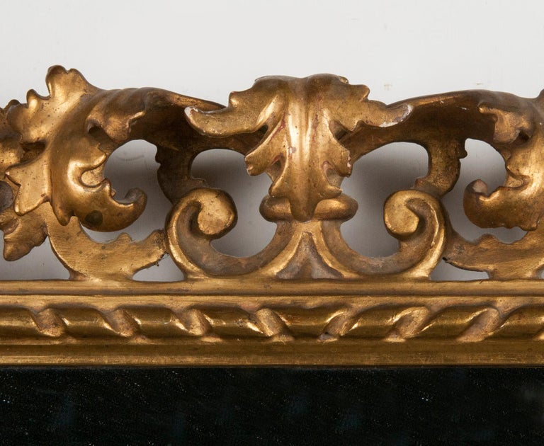 Italian Hand Carved and Gold Leaf Gilded Baroque Style Mirror, 1890-1900 For Sale 1