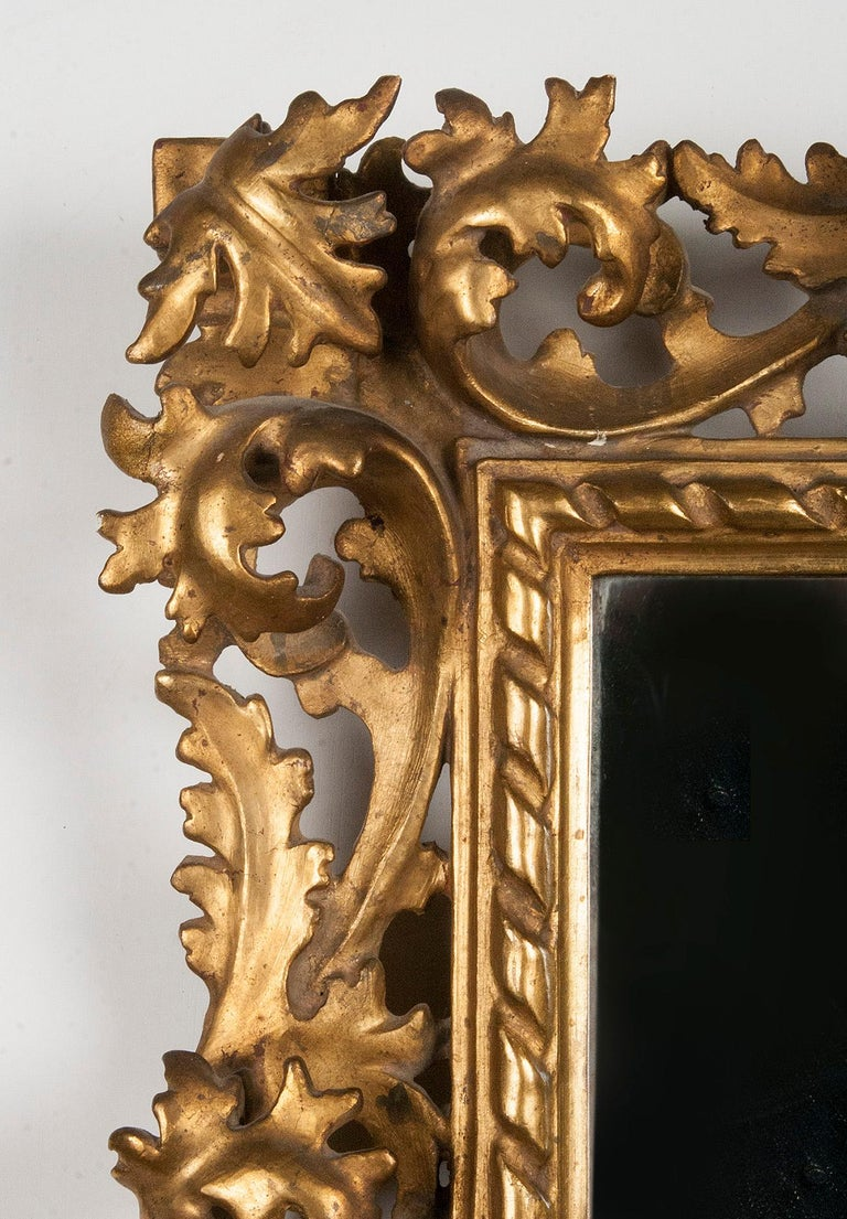 Italian Hand Carved and Gold Leaf Gilded Baroque Style Mirror, 1890-1900 For Sale 3
