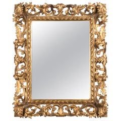 Italian Hand Carved and Gold Leaf Gilded Baroque Style Mirror, 1890-1900