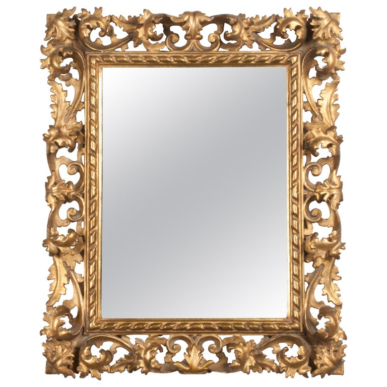 Italian Hand Carved and Gold Leaf Gilded Baroque Style Mirror, 1890-1900 For Sale
