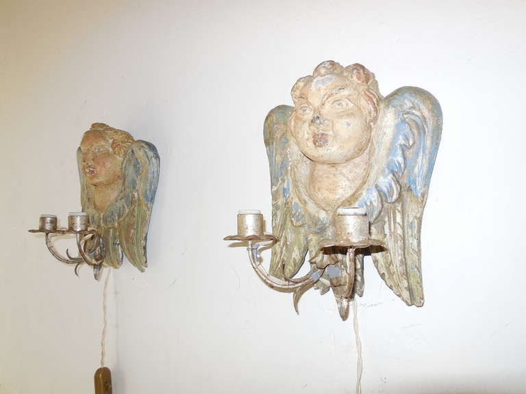 Italian Hand Carved and Painted Cherub Angel Wood Polychrome Sconces In Fair Condition In Modena (MO), IT