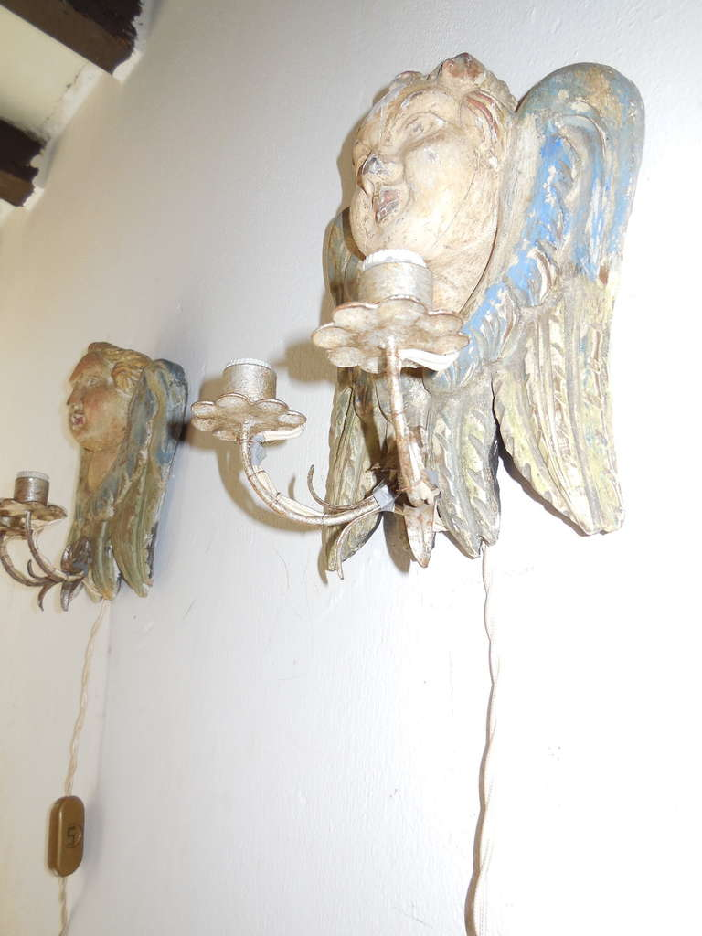 Mid-20th Century Italian Hand Carved and Painted Cherub Angel Wood Polychrome Sconces