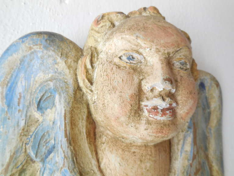 Italian Hand Carved and Painted Cherub Angel Wood Polychrome Sconces 5
