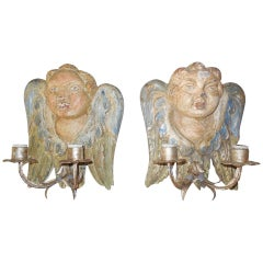 Italian Hand Carved and Painted Cherub Angel Wood Polychrome Sconces