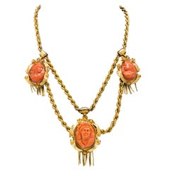 Italian Hand Carved Coral Cameo Necklace in 14 Karat Yellow Gold, circa 1950