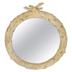 Italian Hand Carved Faux Bois Round Mirror in the Manner of Bartolozzi & Maioli
