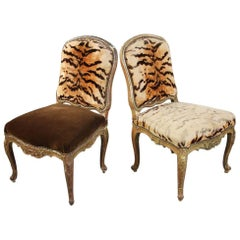 Italian Hand Carved Florentine Gilt Chairs with Original Animal Print Fabric