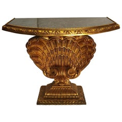 Italian Hand Carved Giltwood Clam Pedestal Console Table