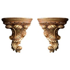 Italian Hand Carved Gold Gilt Wall Corbels, circa 1890