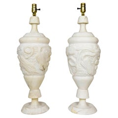 Italian Hand Carved Grapevine Alabaster Urn Lamps with Interior Light, 'Pair'