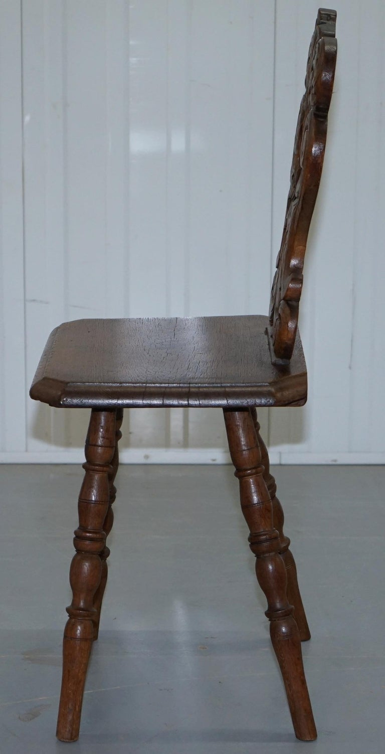 Italian Hand Carved Oak Hall Chair with Ornate Wood Floral Cresting Back Rest For Sale 8