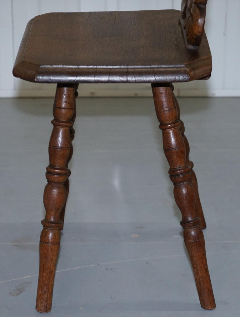 Italian Hand Carved Oak Hall Chair with Ornate Wood Floral Cresting Back Rest For Sale 9