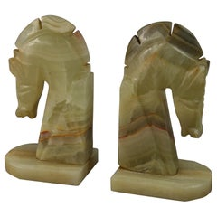 Italian Hand Carved Onyx Deco Style Horse Head Bookends