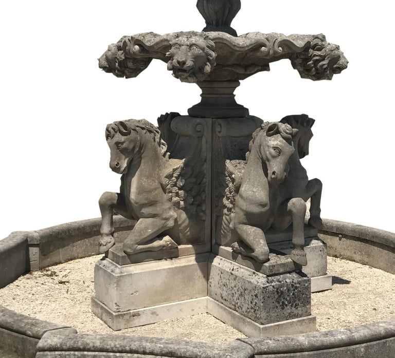 Late 20th Century Italian Hand-Carved Stone Tiered Water Fountain For Sale