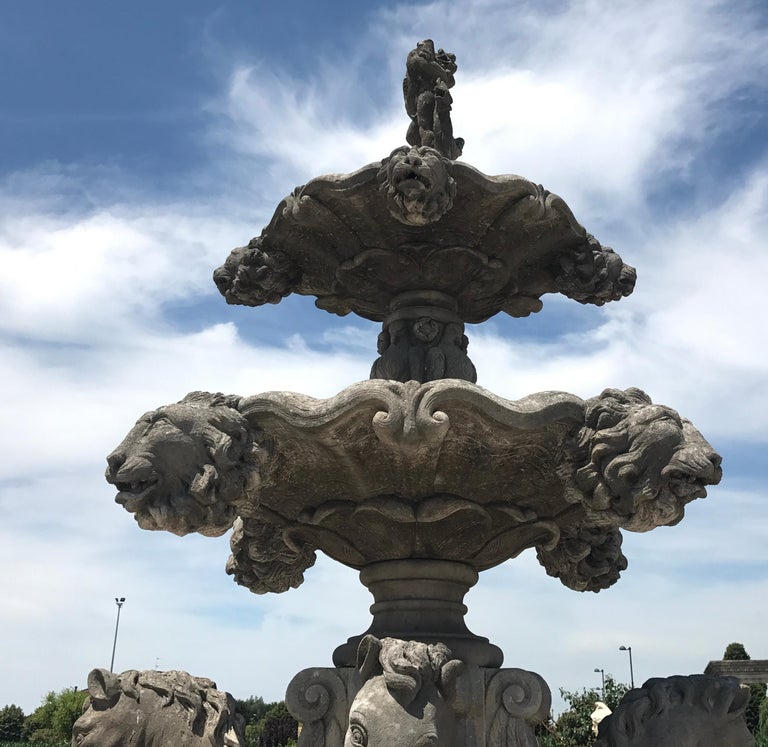 Italian Hand-Carved Stone Tiered Water Fountain For Sale 1