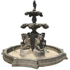 Italian Hand-Carved Stone Tiered Water Fountain