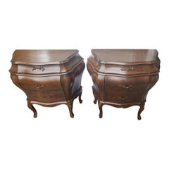 Italian Hand Carved Walnut Bombe Chests Nightstands, a Pair