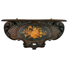 Italian Hand Carved Walnut Wood Shelf with Musical Inlay, Late 19th Century