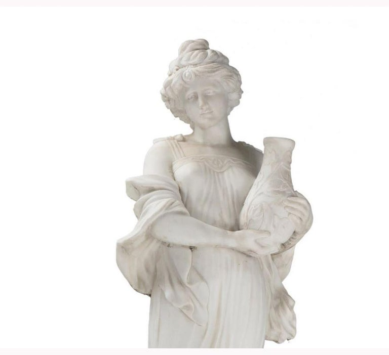Hand-Carved Italian Hand Carved White Marble Standing Maiden For Sale