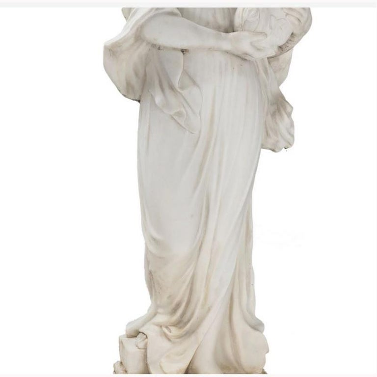 Italian Hand Carved White Marble Standing Maiden In Good Condition For Sale In Cypress, CA