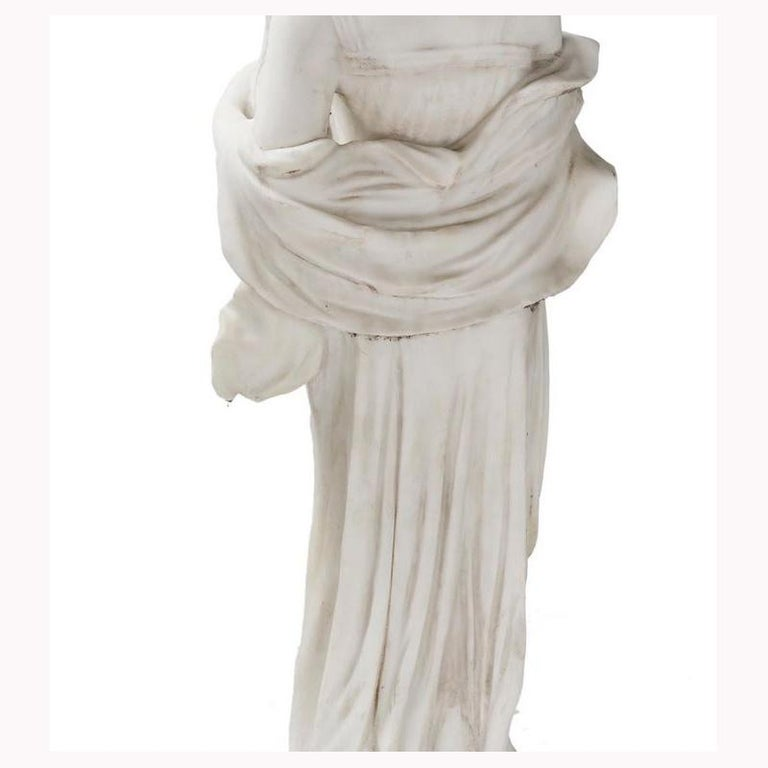 Italian Hand Carved White Marble Standing Maiden For Sale 1