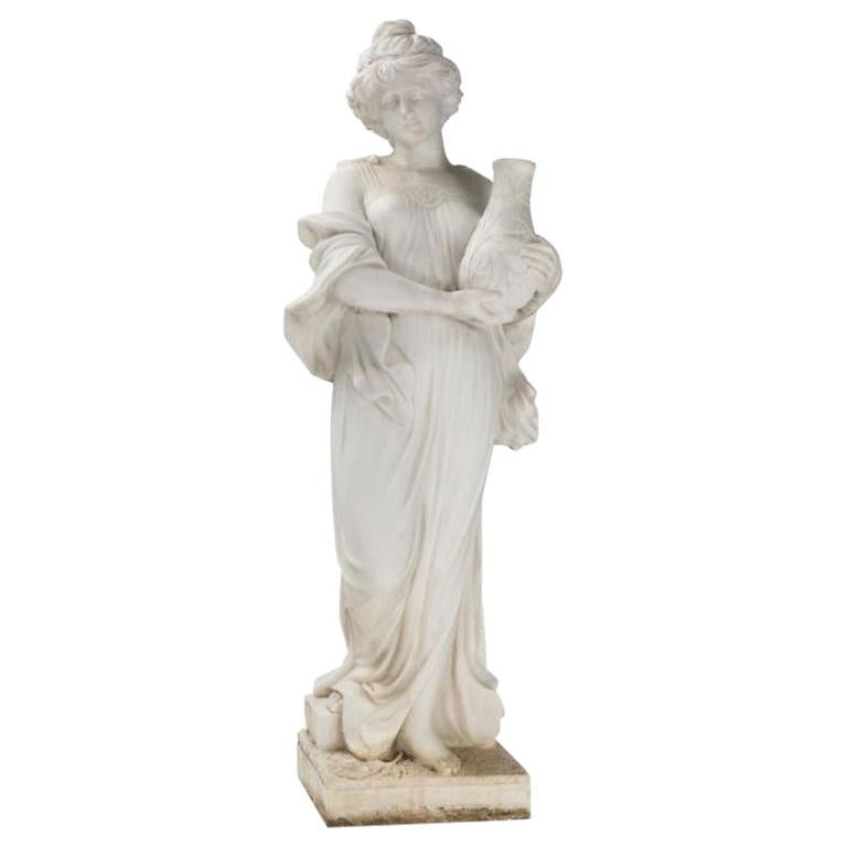 Italian Hand Carved White Marble Standing Maiden For Sale