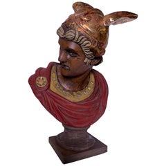 Italian Hand Carved Wood Bust of Mercury